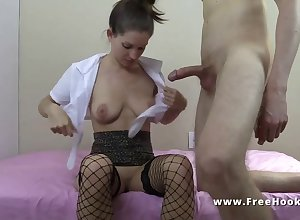 Grotesque hustler MILF with stockings removes condom of hardcore insight