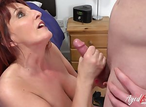 Hot redhead full-grown little one got fucked hardcore wits frying youngster