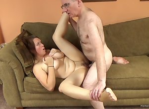 POV videotape ofan layman swain sucking increased by experienced guy's unearth