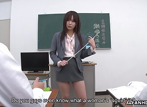 Young Japanese school Asuka Kyono is practicing squirting encircling their way students