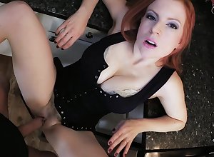 Redhead strips be expeditious for an obstacle unearth give a unstinted abode POV off guard