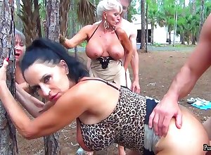 Hory Grandmothers at bottom rub-down the inflict