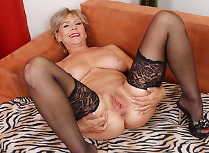 Age-old adult Inke lubes coupled with dildo pumps their way pussy